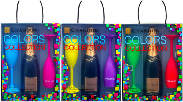 Kit Chandon Collection, com duas taças coloridas, custará R$ 65