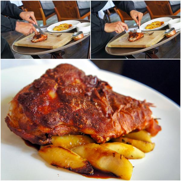 O leitão crocante com maçãs e suas etapas no serviço de mesa