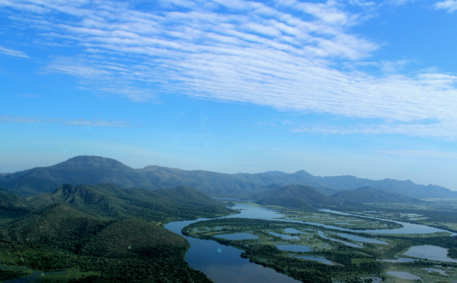 Vista do sobrevoo sobre o Pantanal na região de Corumbá