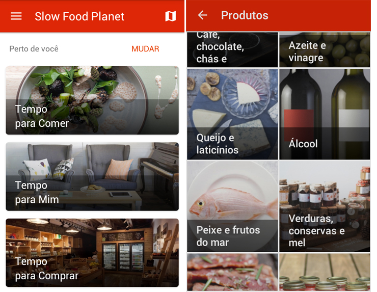 Telas do app Slow Food
