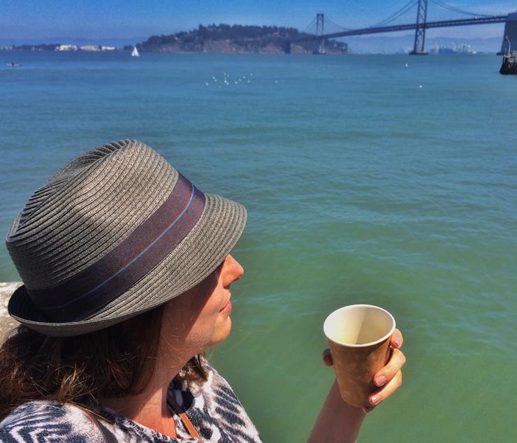 Eu, feliz num dia de sol em San Francisco
