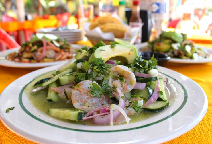 Aguachile do restaurante de praia Las Palmas, em San Pancho