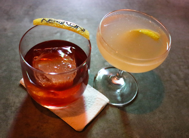 Do novo Negroni Bar: Negroni com gin Principe de Los Apostoles e Fitzgerald (gin Bombay Sapphire, açúcar e Angostura)