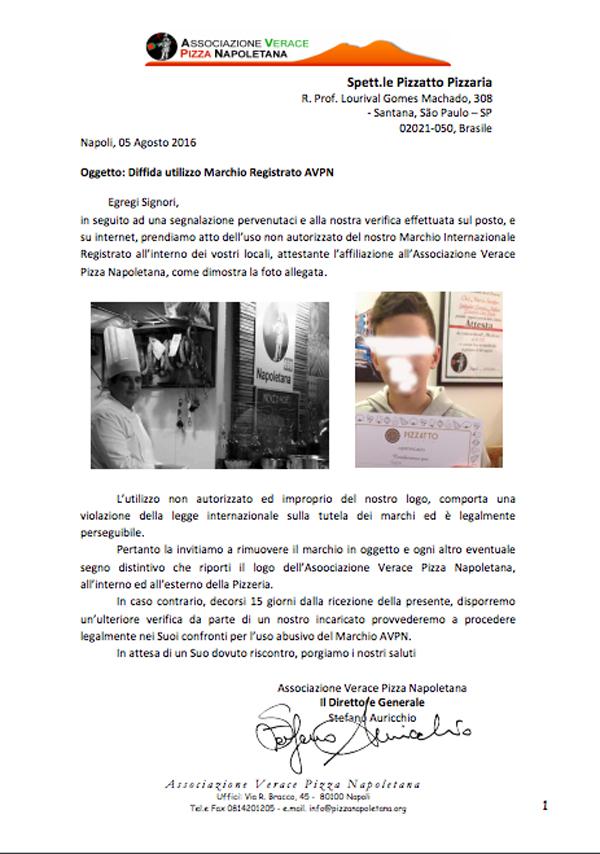 Email de notificação extrajudicial da AVPN, pedindo a retirada das placas e citações da AVPN da Pizzatto