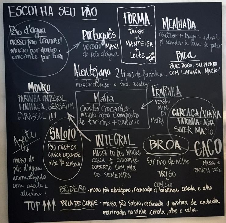 Lousa ajuda a sanar as dúvidas dos clientes sobre os pães portugueses