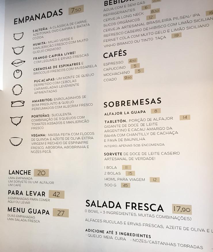 Menu do La Guapa: excelente custo- benefício