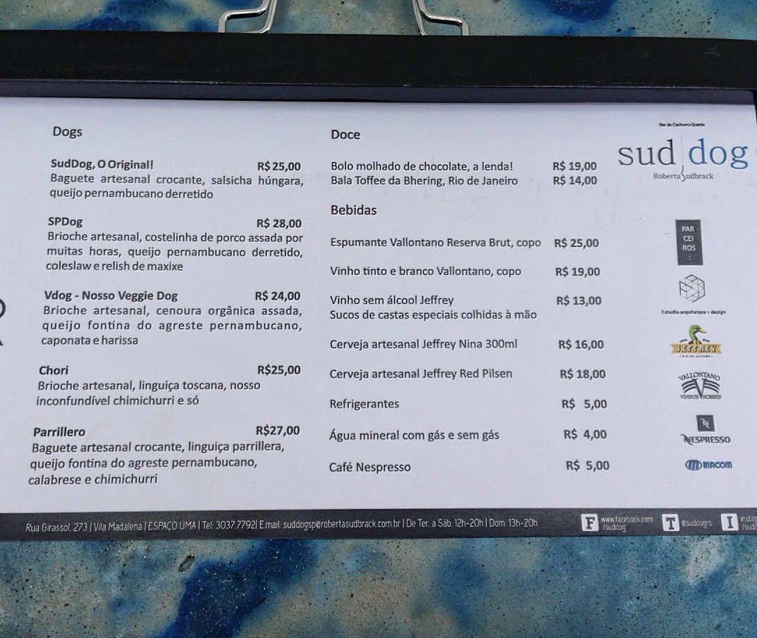 Menu do Sud Dog SP