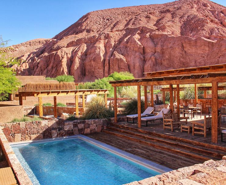 Uma das várias piscinas privativas do Hotel Alto Atacama: um ótimo lugar para relaxar dos dias repletos de atividade pelo deserto