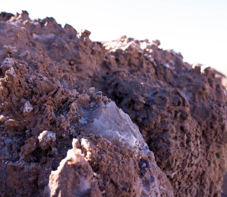 Cristais de sal - sim, podem ser usados como sal de cozinha - no Vale da Lua. Devido ao acesso de exploração, as minas de sal são proibidas hoje em dia.