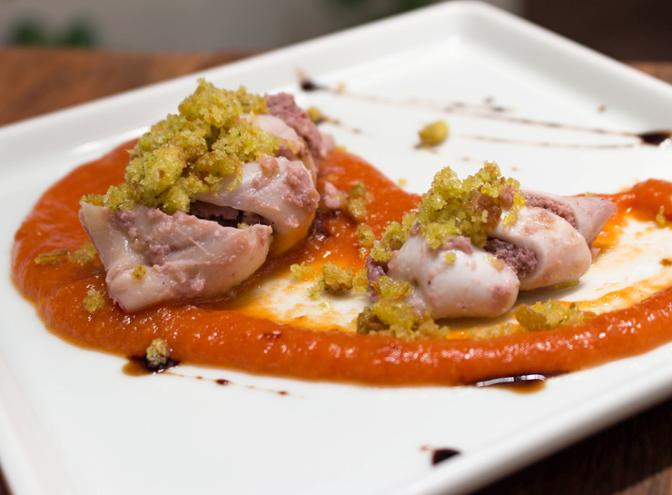 Lula recheada com polvo e pancetta caseira (R$ 18): petisco do novo Due, bar do Due Cuochi